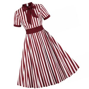 Dresses & Skirts - Stripe Bow Short Sleeve Goth Pin Up Dress
